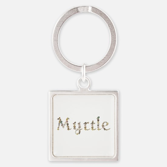 Myrtle Seashells Square Keychain