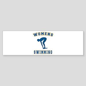 Blue Women's Swimming Logo Bumper Sticker
