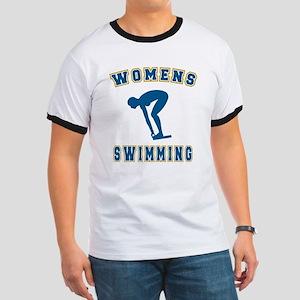 Blue Women's Swimming Logo Ringer T
