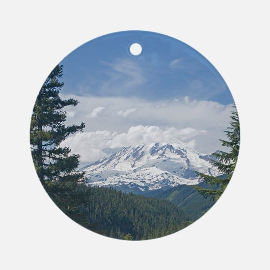 Mt Rainier Cloud Capped Ornament (Round)