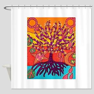 Tree Of Life Peace & Sorrow - Tree Shower Curtain