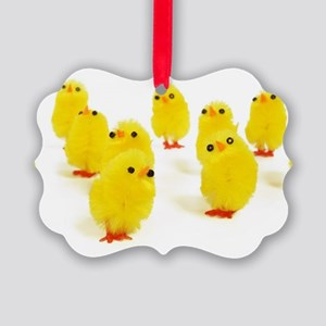 yellow baby chicks Picture Ornament