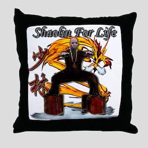 Shaolin Kanji Dragon Monk Throw Pillow