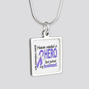 Esophageal Cancer HeavenNe Silver Square Necklace