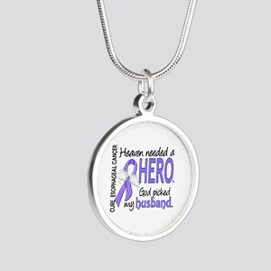 Esophageal Cancer HeavenNeed Silver Round Necklace