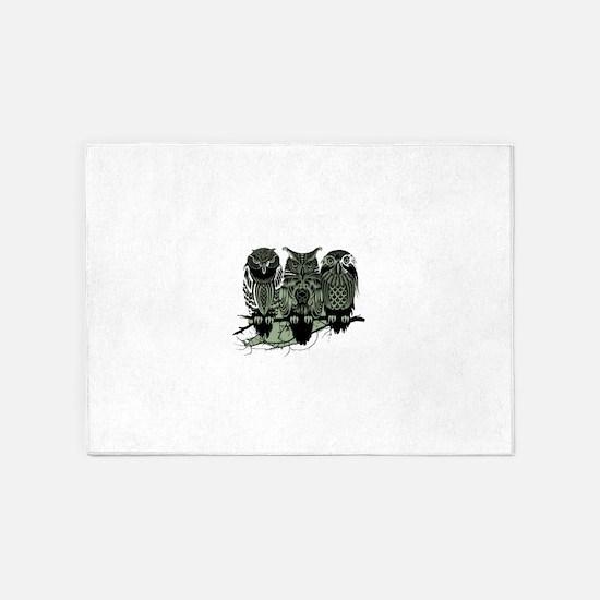 Three Owls 5'x7'Area Rug
