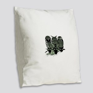 Three Owls Burlap Throw Pillow