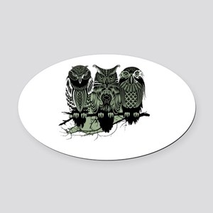 Three Owls Oval Car Magnet