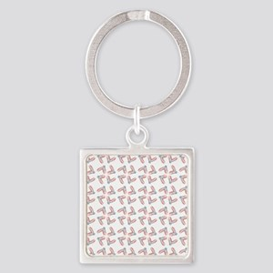 PINK SATIN BALLET Square Keychain