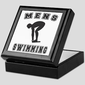 Black Men's Swimming Logo Keepsake Box