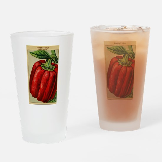 French Red Bell Pepper Seed Label Drinking Glass