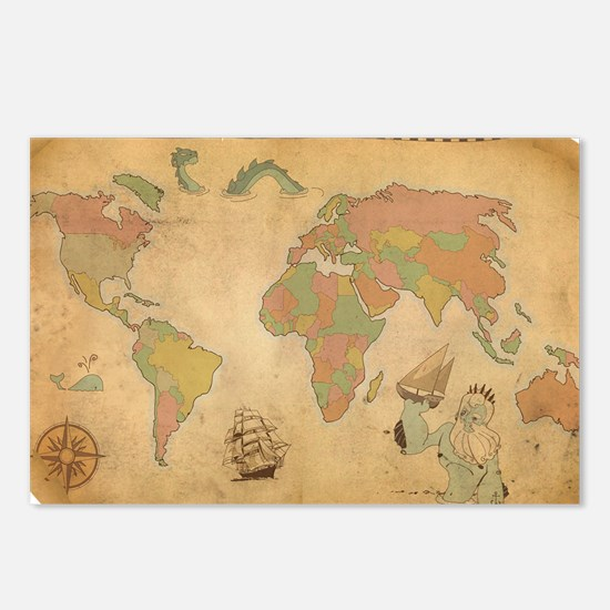 Ancient Mythology World Map Postcards (Package of