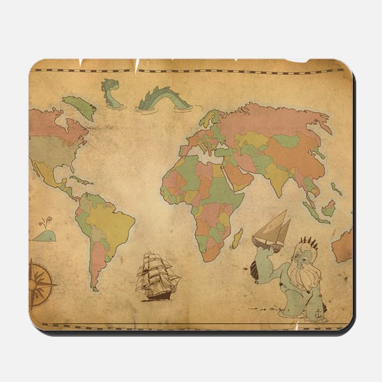 Ancient Mythology World Map Mousepad