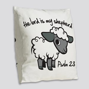 The Lord is my Shepherd Burlap Throw Pillow