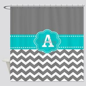 Gray Teal Chevron Monogram Shower Curtain