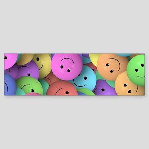 rainbow happy faces art Bumper Sticker