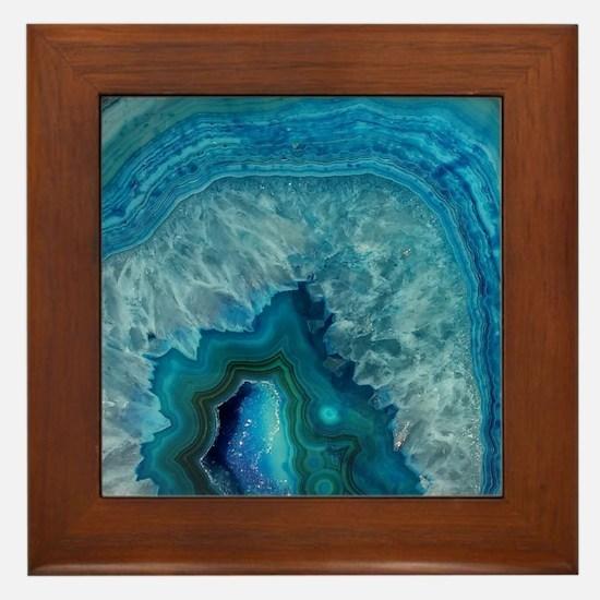 Blue geode quartz crystal druse druzy  Framed Tile