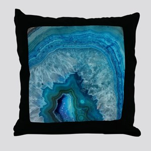 Blue geode quartz crystal druse druzy Throw Pillow