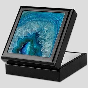 Blue geode quartz crystal druse druzy Keepsake Box