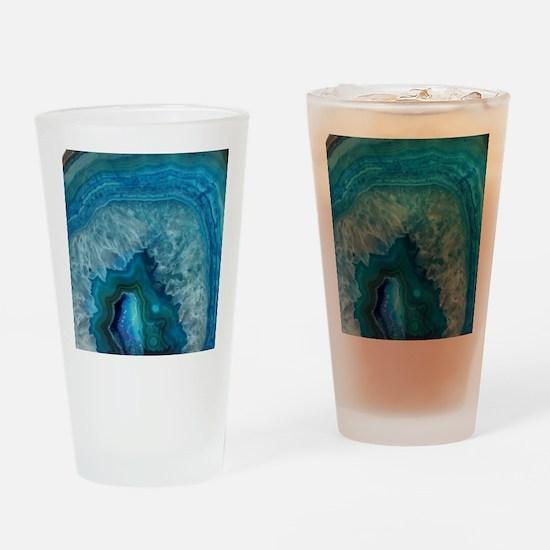 Blue geode quartz crystal druse dru Drinking Glass