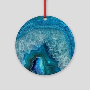 Blue geode quartz crystal druse dru Round Ornament