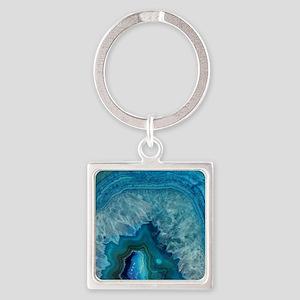 Blue geode quartz crystal druse dr Square Keychain