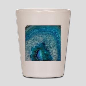 Blue geode quartz crystal druse druzy a Shot Glass