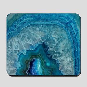Blue geode quartz crystal druse druzy ag Mousepad