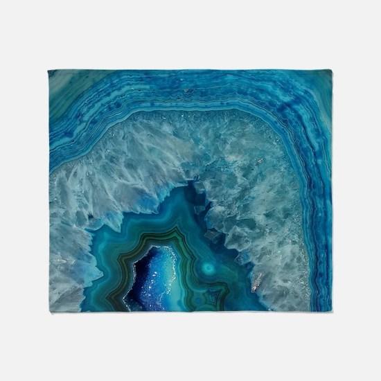 Blue geode quartz crystal druse druz Throw Blanket