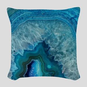 Blue geode quartz crystal drus Woven Throw Pillow