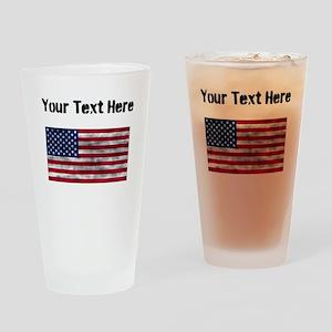 Distressed United States Flag (Custom) Drinking Gl