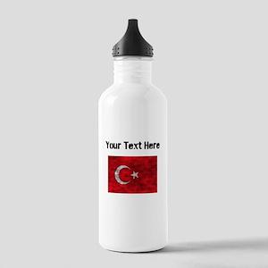Distressed Turkey Flag (Custom) Water Bottle