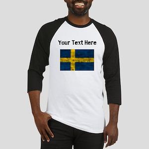 Distressed Sweden Flag (Custom) Baseball Jersey
