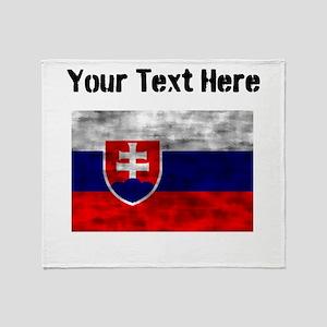 Distressed Slovakia Flag (Custom) Throw Blanket