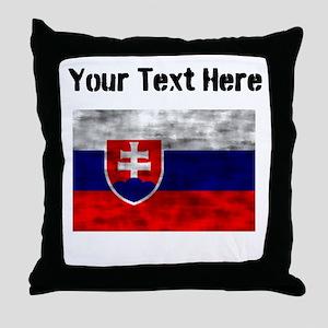 Distressed Slovakia Flag (Custom) Throw Pillow