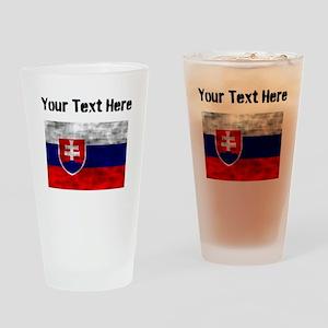 Distressed Slovakia Flag (Custom) Drinking Glass