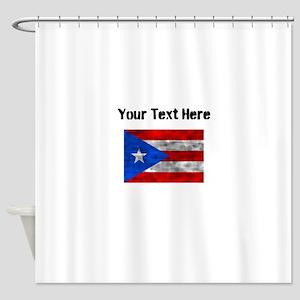 Distressed Puerto Rico Flag (Custom) Shower Curtai
