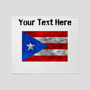Distressed Puerto Rico Flag (Custom) Throw Blanket