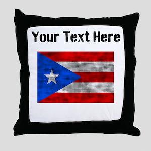 Distressed Puerto Rico Flag (Custom) Throw Pillow