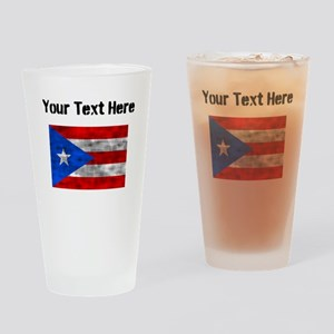 Distressed Puerto Rico Flag (Custom) Drinking Glas