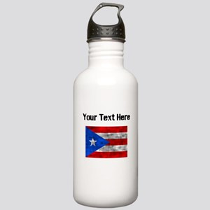 Distressed Puerto Rico Flag (Custom) Water Bottle