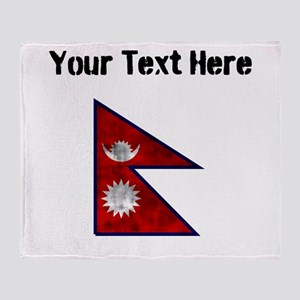 Distressed Nepal Flag (Custom) Throw Blanket