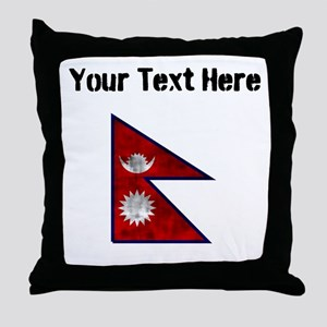 Distressed Nepal Flag (Custom) Throw Pillow