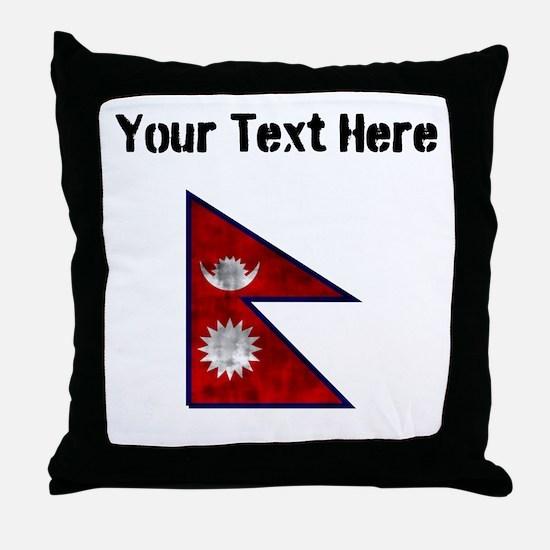 Distressed Nepal Flag (Custom) Throw Pillow