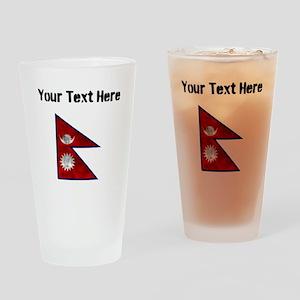 Distressed Nepal Flag (Custom) Drinking Glass
