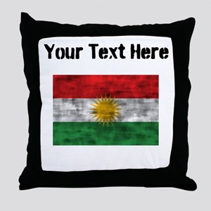 Distressed Kurdistan Flag (Custom) Throw Pillow