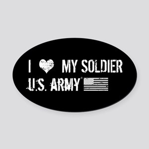 U.S. Army: I Love My Soldier Oval Car Magnet
