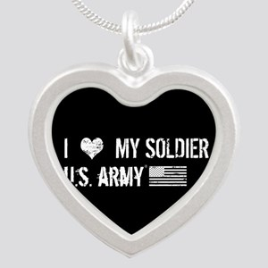 U.S. Army: I Love My Soldier Silver Heart Necklace