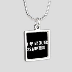 U.S. Army: I Love My Soldi Silver Square Necklace