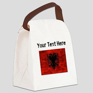 Distressed Albania Flag (Custom) Canvas Lunch Bag